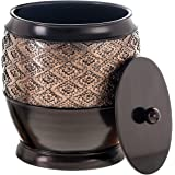 Dublin Small Trash Can With Lid - Decorative Waste Basket, Durable Resin Slim Bathroom Covered Garbage Can Wastebasket Bin Fo