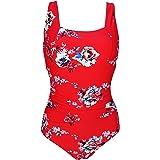 COCOSHIP Women's Square Neck One Piece Bather Padded Bra Bikini Ruched Back Clip Swimsuit Tummy Control Swimwear(FBA)