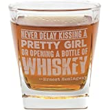 Ernest Hemingway Quote Whiskey Cocktail Glass, 10 oz