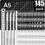 145 PCS Exacto Knife Set Upgrade Includes 3 Exacto Knife 140PCS 11# SK5 Art Blades with 1PC Ruler 1PC A5 Cutting Mat for Art,