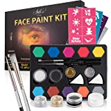 Face Paint Kit for Kids - 12 Water Based, Quick Dry, Non-Toxic Sensitive Skin Paints, 2 Glitters - 2 Sponge Applicators, 2 Pr