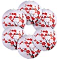 6 Pack Red Cherry Flowers Paper Lantern White Round Chinese Japanese Paper Lamp for Home Wedding Party Decoration, 11.8 x 11