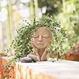 AIMEBBY Face Flower Pot Head Planter Pot Succulent Planter Cute Closed Eyes Resin Cactus Planter with Drainage Hole