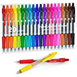Colored Gel Pens, Lineon 20 Colors Retractable Gel Ink Pens with Grip, Medium Point(0.7mm) Smooth Writing Pens Perfect for Ad