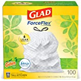 Glad OdorShield Tall Kitchen Drawstring Trash Bags (Gain Original with Febreze Freshness), 13 gallon, 100ct