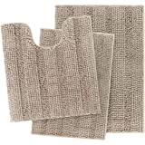 IM Home Extra Soft Beige Bathroom Rugs and Mats Set 3 Pieces, Thick Chenille Bath Rugs Non Slip for Bare Feet, Absorbent Plus