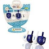 Hanukkah Dreidel Bulk Solid Blue & White Wooden Dreidels Hand Painted - Game Instructions Included! (4-Pack)