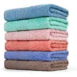 Cleanbear Face-Cloth Washcloths Set100% Cotton High Absorbent 6-pack 6 Colors Size13x13-deep color