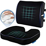 Seat Cushion and Lumbar Support for Office Chair Coccyx Orthopedic Memory Foam Car Seat Cushion Back Pillow for Reliving Tail