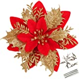 Greentime 12 Pcs 14cm / 5.5in Red Poinsettia Artificial Christmas Flowers with Clips and Stems Glitter Christmas Tree Ornamen