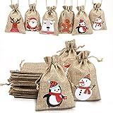 LOKIPA Christmas Jute Burlap Bags, Xmas Jute Linen Burlap Drawstring Gift Treat Candy Bag for Xmas Favors (24)…