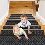 """CrystalMX Non-Slip Carpet Stair Treads, Anti Moving Grip and Beauty Rug Tread Safety for Kids Elders and Dogs, 8"""" X 30"""" (Char"""
