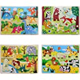 Wooden Peg Puzzles for Toddlers, Animal Pattern Matching Chunky Jumbo Knob Board Learning Toys, Kids Preschool Educational Ga