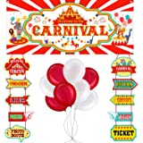 46 Pieces Circus Carnival Party Decoration Set Circus Theme Carnival Banner Carnival Cutouts and Circus Color Balloons Circus
