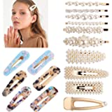 Hair Clips, TERSELY 16 PCS Women Girls Pearl Hair Clip Hairpin Slide Grips Barrettes Charm Fashion crystal Large Hair Bows/Cl