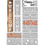 KIBAGA Reusable Stencils for Painting on Wood and More - Easy Paint Welcome Sign Stencil for Front Door, Porch or Outside Hom