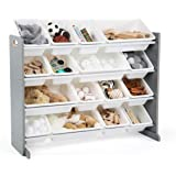 (Grey/White) - Tot Tutors WO701 Springfield Collection Wood Toy Storage Organiser, Extra Large, Grey/White