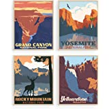 Vintage National Park Posters Set - By Haus and Hues   National Parks Art Prints Nature Wall Art and Mountain Print Set Abstr