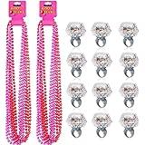 Konsait Party Beads Necklaces(12pcs) & Light Up Engagement Diamond Rings(12pcs), Bachelorette Party Light Up Rings with Bache