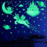 194 PCS Glow in The Dark Stars for Ceiling, Wall Decals for Girls Bedroom, Unicorn Room Decor for Girls Bedroom, Moon Castle