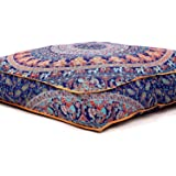 Large Indian Meditation Floor Pillow Cover 35 X 35 Inch Elephant Mandala Ottoman Cushion Dog Bed Outdoor Sofa Day Bed Kids Te