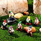 7 Pieces Gnomes Fairy Resin Statues Miniature Fairy Garden Mini Gnome Statue for Table and Garden Decoration for Holiday Fest