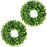 """Lvydec 2 Pack Artificial Boxwood Wreath - 11"""" Mini-Sized Boxwood Wreath Green Candle Wreath for Wall Window Home Decoration"""