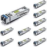 10Gtek for Cisco GLC-LH-SMD/ GLC-LH-SM/ SFP-GE-L, Gigabit SFP Transceiver, 1000Base-LX/LH, SMF, 1310nm, 10km, Pack of 10