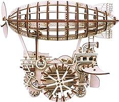 ROBOTIME 動く木製パズル 飛行船 AIR VEHICLE ぜんまい式 レーザーカット 日本語訳説明書付き 229ピース 約300×215×250mm LK702