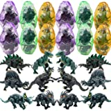 Liberty Imports 12 Pack Deluxe 3D Action Figures Realistic Figurine Puzzles in Jurassic Hatching Eggs | Ideal Kids Toy Party