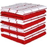 Terry Cotton Dishcloth Set of 8 (12 x 12 Inches), Red, 100% Cotton, Highly Absorbent Kitchen Dish Cloths, Machine Washable by