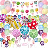 Candyland Party Supplies Set - 64pcs,Candy Party Decorations with Lollipop Banner,Sweet Candy Balloons,Candy Cake Toppers,Lat