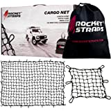Rocket Straps Cargo Net 4fX6f Stretches to 7.2fX10.5f | Heavy Duty 5mm Tightly Woven 3hX3h Mesh No Gaps in Securing Cargo Loa