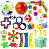 AKILION Sensory Fidget Toys Set, 34 Pack, Stress Relief and Anti-Anxiety Fidget Toy for Kids & Adults, Bundle Toys, Gifts for