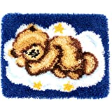 Latch Hook Kits DIY Cushion Cross Stitch Kits Embroidery for Adults Beginner DIY Needlework Rectangle Floor Desk Mat Home Dec