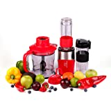 Professional Blender, Chopper, Food Processor with 2 Personal Jars for Single Serve, Smoothie Cup, BPA-Free – Red – 4 Piece S