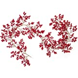 Lvydec Red Berry Garland Christmas Decoration - 6ft Artificial Red Berry Garland with Bendable Stems for Holiday Fireplace St