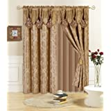 All American Collection New 4 Piece Drape Set with Attached Valance and Sheer with 2 Tie Backs Included (Taupe)