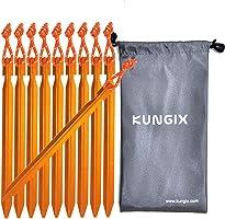 KUNGIX テントペグ 18cm 轻巧方便携带轻便铝合金制造10本附收纳袋户外用品野营用品佩格