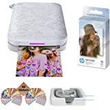 HP Sprocket Photo Printer, Print Social Media Photos on 2x3 Sticky-Backed Paper (Black) + Photo Paper (50 Sheets) + USB Cable