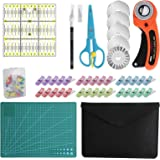 96 PCS Rotary Cutter Kit,45mm Fabric Cutter Set with 5 Blades,Cutting Mat, Patchwork Ruler, Carving Knife,Scissors, Storage B