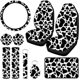 10 Pieces Cow Print Car Decorations Include Car Steering Wheel Cover, 2 Pieces Front Seat Covers, 2 Pieces Car Coasters, Keyr