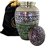 Iridescent Mosaic Cracked Glass Brass Metal Funeral Cremation Urn for Human Ashes - Extra Large, Large and Keepsake, Aluminum