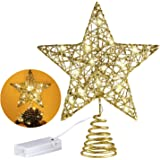 MAIAGO 10 Inches Christmas Tree Topper with 20 LED Lights, Gold Glittered Metal Christmas Tree Decorations for Home Party Hol