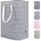 DOKEHOM 24-Inches Thickened X-Large Laundry Basket with Drawstring, Waterproof Square Cube Cotton Linen Collapsible Storage B