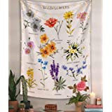 Lifeel Wildflowers Vertical Tapestry Wall Hanging, Illustrative Reference Chart Tapestry With Word, Beige White Vintage Tarot