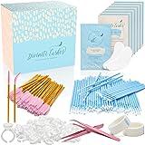 Eyelash Extension Supplies - 100 Glue Ring Holder | 100 Disposable Mascara Brushes Wands | 100 Micro Applicators Brush | 100
