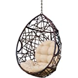 Christopher Knight Home 312592 Isaiah Indoor/Outdoor Wicker Tear Drop Hanging Chair (Stand Not Included), Multi-Brown and Tan