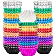 Sumind 400 Pieces Mini Cupcake Cup Liners, Foil Baking Cups, Foil Cupcake Liners for Baking Muffin and Cupcakes 10 Colors
