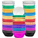Sumind 400 Pieces Mini Cupcake Cup Liners, Foil Baking Cups, Foil Cupcake Liners for Baking Muffin and Cupcakes (10 Colors)